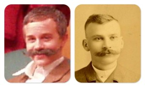 Comparison of my son (with a false mustache) with his great-great grandfather, Frank Roberts.