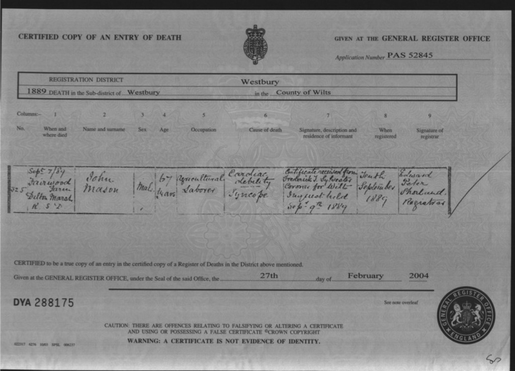 1889 death certificate for John Mason, aged 67.