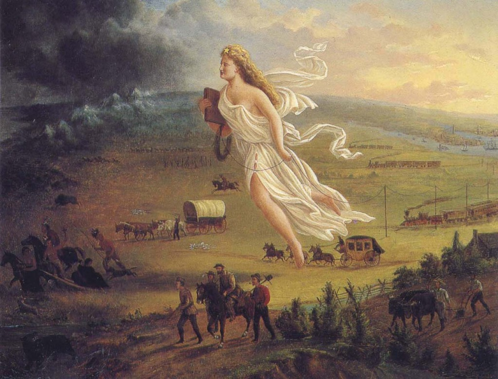 This painting (circa 1872) by John Gast called American Progress, is an allegorical representation of the modernization of the new west.
