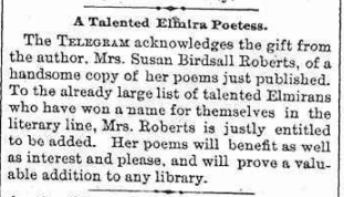 Elmira NY Telegram, 1891 notice of Susan Birdsall Roberts' book of poems.