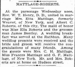 Marriage notice for Etta Matlage and Albert Roberts, Elmira Telegram, 1895.