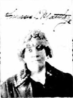 Frances Mattlage's 1922 passport photo, after her divorce. She looks a little more subdued here.